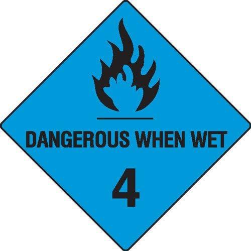 Dangerous When Wet 4 Hazchem Sign