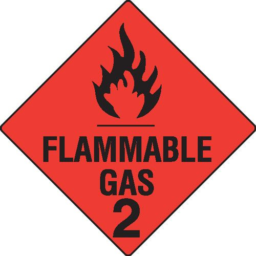 Flammable Gas 2 Hazchem Sign