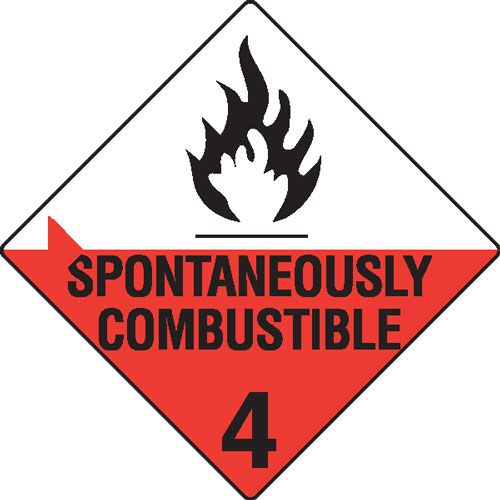 Spontaneously Combustible 4 Hazchem Sign